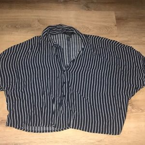 Forever 21 Navy and White Striped Boxy Crop Top